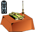 Altar with a candle and Bible beside a window PNG