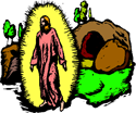 Christ's empty tomb with the stone rolled to one side PNG