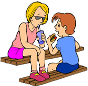 Two people on a bench PNG