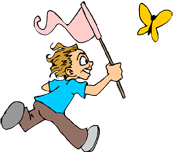 Boy chasing butterfly PNG