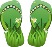 Sandals and grass PNG