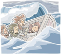 Jesus asleep in the boat  PNG