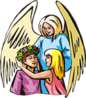 Angel and two people PNG