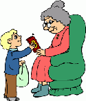 Wee boy helping old woman PNG
