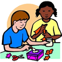 Boy and a girl at craft work PNG