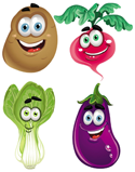 Vegetables with smiling faces PNG