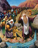 Moses brings water from the rock PNG