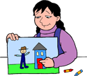 Girl with picture PNG