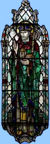 Picture Of A Part Of A Stained Glass Window Showing Saint Fergus